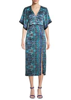 Nanette Lepore Jokers Short-Sleeve Printed Midi Dress