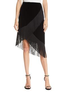Nanette Lepore Jordan Fringed Stretch Velvet Skirt