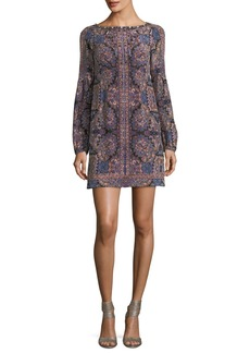 Nanette Lepore Kaleidoscope-Print Bateau-Neck Long-Sleeve Cocktail Dress