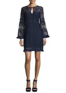 Nanette Lepore Lace A-line Dress with Fringe Trim