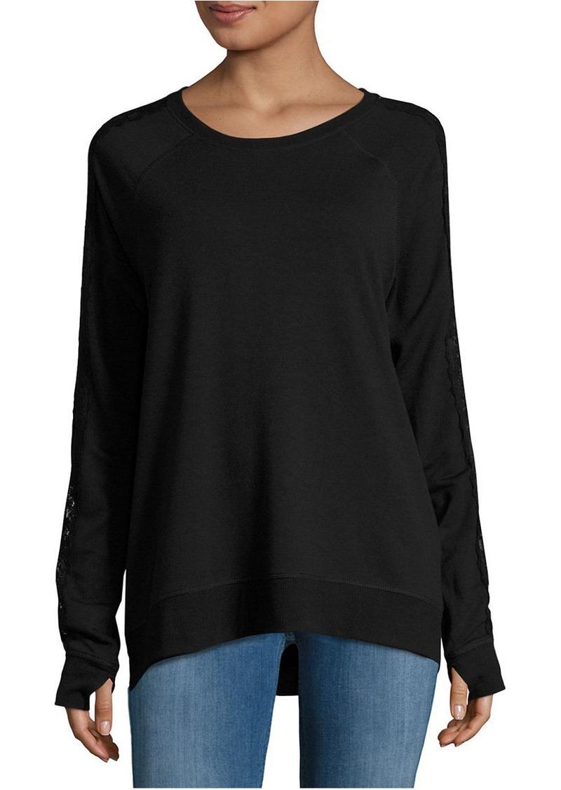 NANETTE LEPORE Lace-Accented Lace-Up Sweatshirt