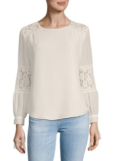 Lace-Insert Long-Sleeve Top