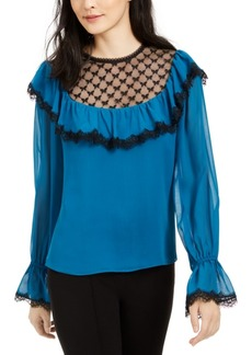 Nanette Lepore Lace-Trim Silk Blouse