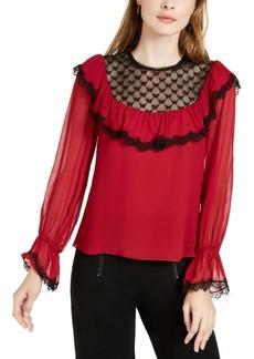 Nanette Lepore Lace-Trim Silk Blouse