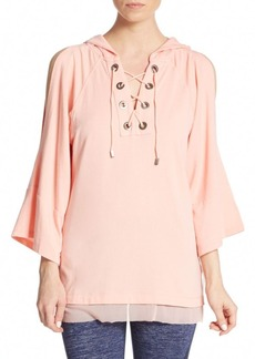 Nanette Lepore Lace-Up Bell Sleeve Hoodie