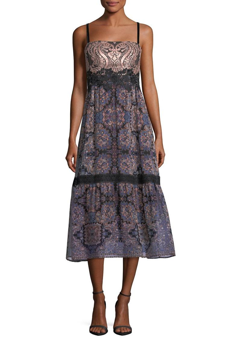Nanette Lepore Lady Jane Mixed-Media Sleeveless Midi Cocktail Dress