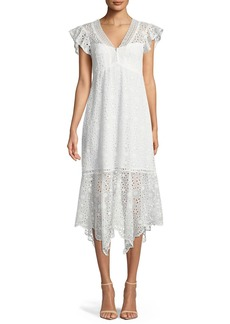 Nanette Lepore Limelight Scalloped V-Neck Eyelet Dress