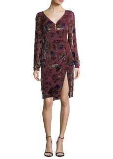 Nanette Lepore Lolita V-Neck Velvet Floral-Burnout Day Dress