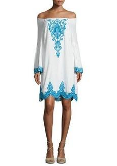Nanette Lepore Long-Sleeve Embroidered Linen Shift Dress