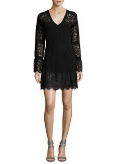 Nanette Lepore Long-Sleeve Lace-Trim Wool Sweaterdress