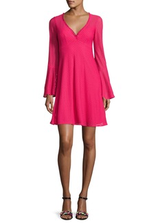 Nanette Lepore Long-Sleeve Mesh Fit-and-Flare Dress