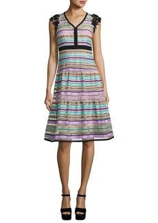 Nanette Lepore Magic Potion Sleeveless Striped Tulle Dress