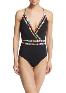Nanette Lepore Mambo Printed-Trim Surplice-Neck One-Piece Swimsuit
