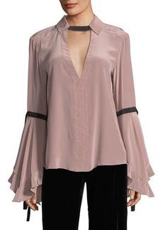 Marie Flounce-Sleeve Silk Blouse
