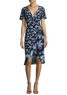 Nanette Lepore Mariposa Short-Sleeve Silk Butterfly Dress