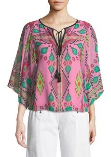 Nanette Lepore Mayaguana Tie-Neck Silk Top