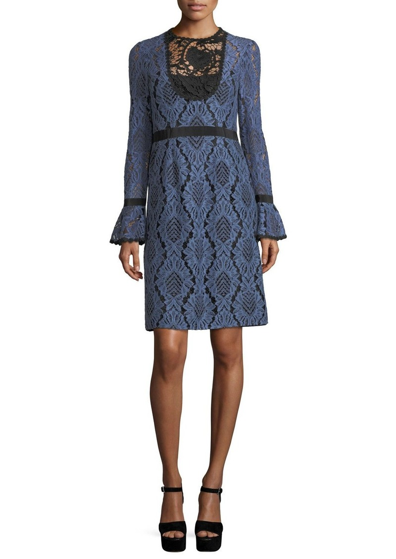 Nanette Lepore Modernist Lace A-Line Cocktail Dress