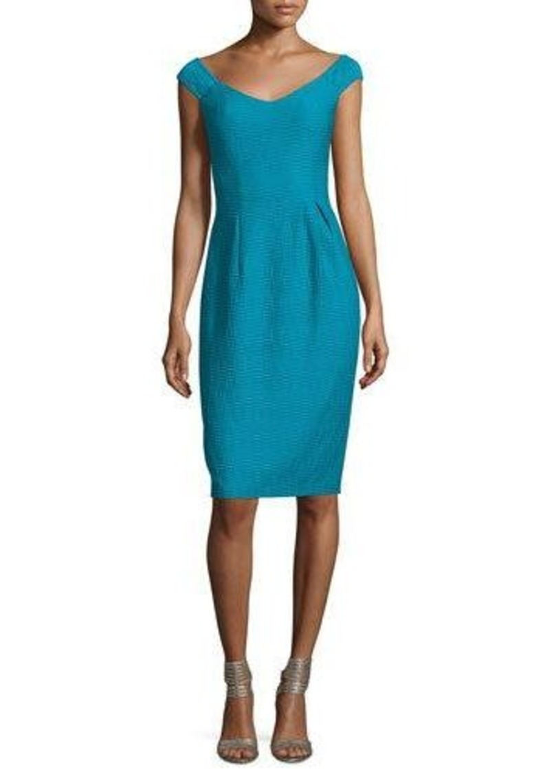 cfd99cee235d Nanette Lepore Nanette Lepore Off-Shoulder V-Neck Textured Sheath ...