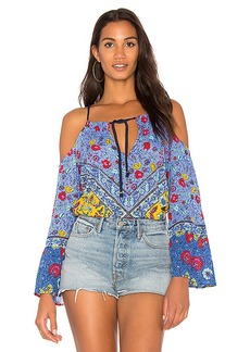 Nanette Lepore Off the Shoulder Tunic in Blue. - size L (also in M,S,XS)