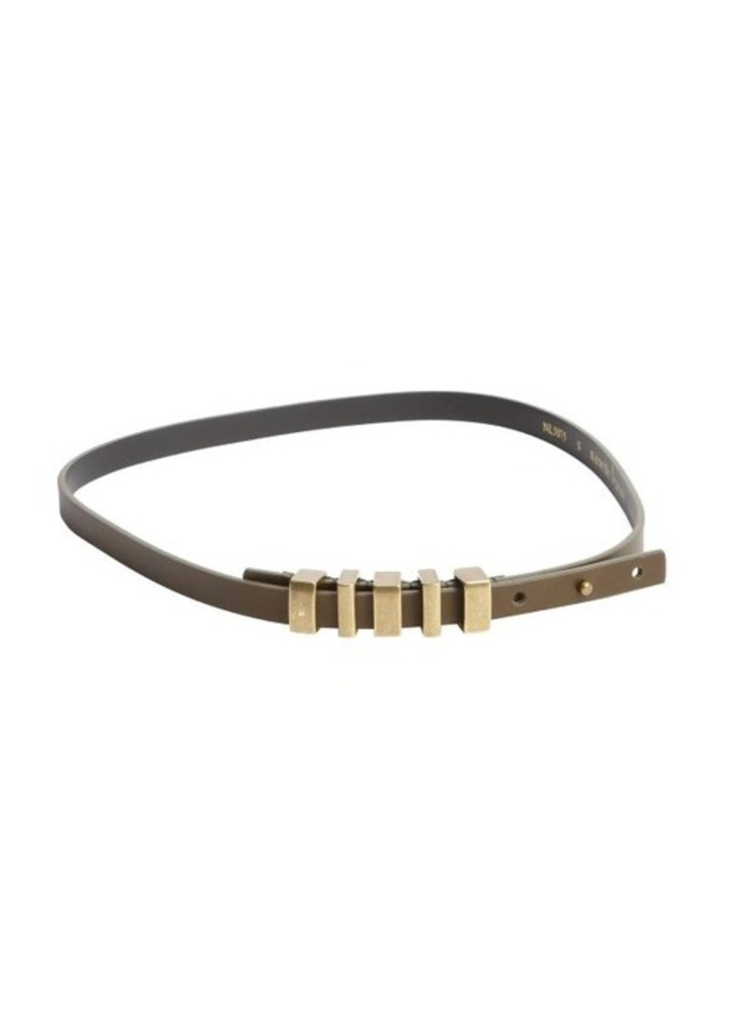 Nanette Lepore olive 1/2'' stud closure leather belt