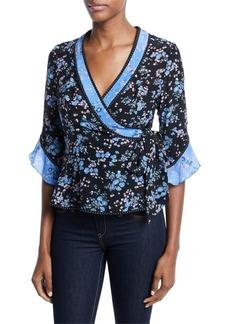 Nanette Lepore Ophelia V-Neck Half-Sleeve Silk Top