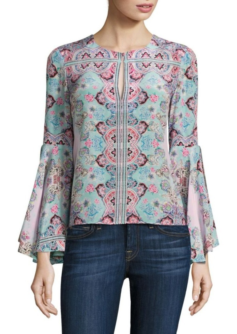 Nanette Lepore Other World Floral Silk Bell Sleeves Top