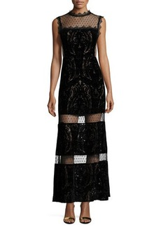 Nanette Lepore Paisley Maxi Dress with Sheer Insets