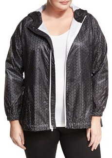 Nanette Lepore Play Plus Perforated Hooded Packable Wind-Resistant Jacket