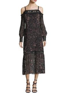 Nanette Lepore Picadilly Cold-Shoulder Velvet Burnout Midi Dress