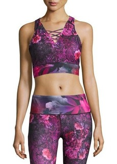 Nanette Lepore Play Baroque-Print Lace-Up Crop Top