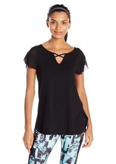 Nanette Lepore Play Women's Lace up Flutter Sleeve Top  L