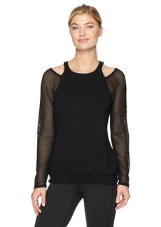 Nanette Lepore Play Women's Mesh SLV Cut Out Crew Top  XS