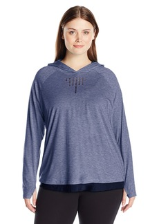 Nanette Lepore Play Women's Plus Sizefeather Jersey + Mesh Soft Laser Cut Hoodie Size