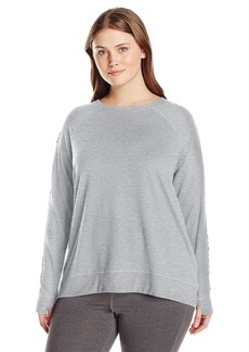 Nanette Lepore Play Women's Plus Size Tri-Blend French Terry Lacey Sweatshirt