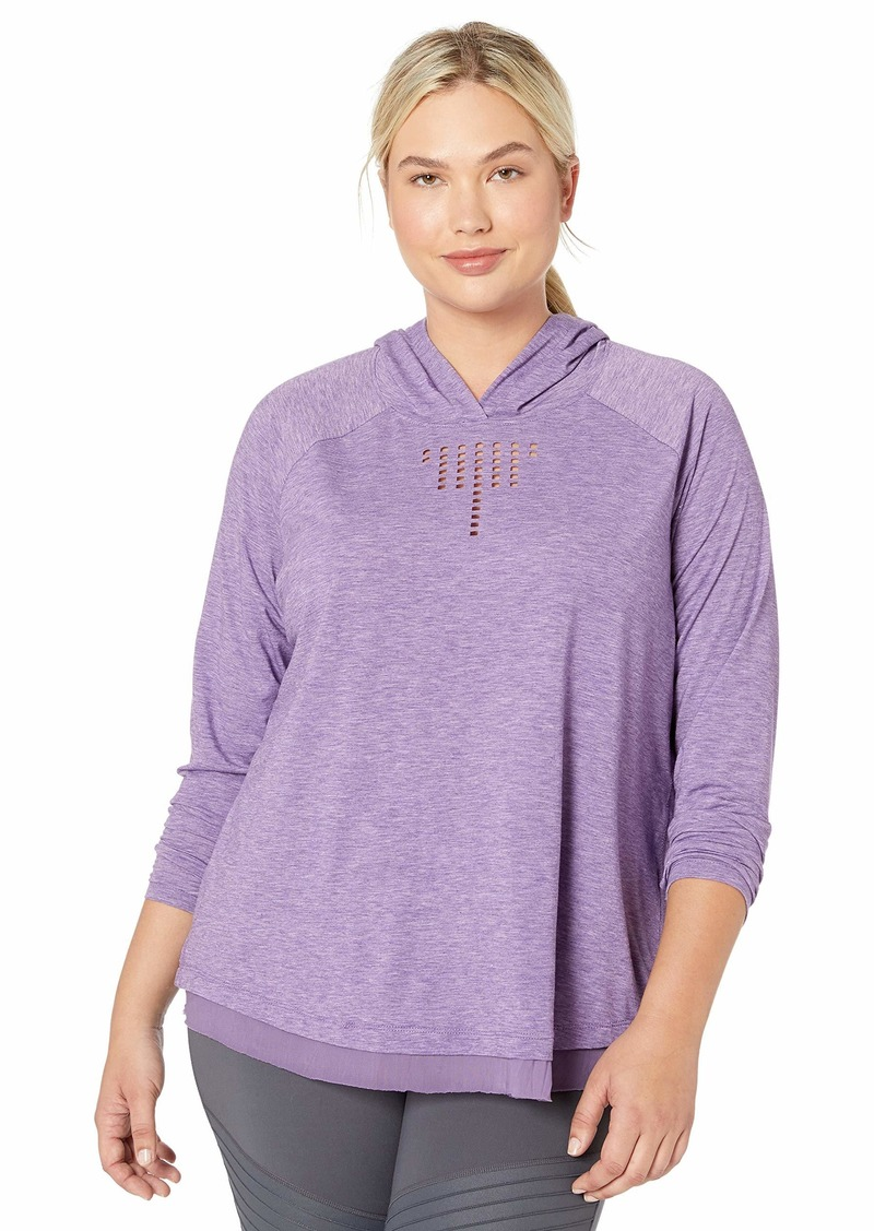 Nanette Lepore Play Women's Plus SizeFeather Jersey + Mesh Soft Laser Cut Hoodie Size