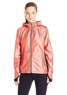 Nanette Lepore Play Women's Iridescent Ripstop and Compression Knit Windbreaker Rose