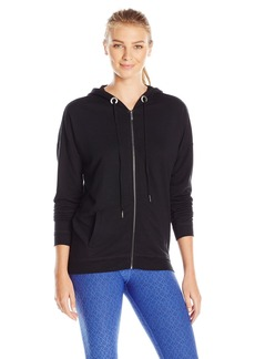 Nanette Lepore Play Women's Tri Blend French Terry Zip up Lace Back Jacket