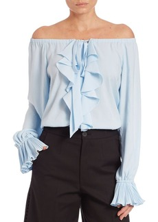 Nanette Lepore Pleated Off-The-Shoulder Top