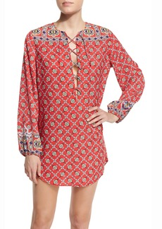 Nanette Lepore Pretty Tough Printed Lace-Up Tunic