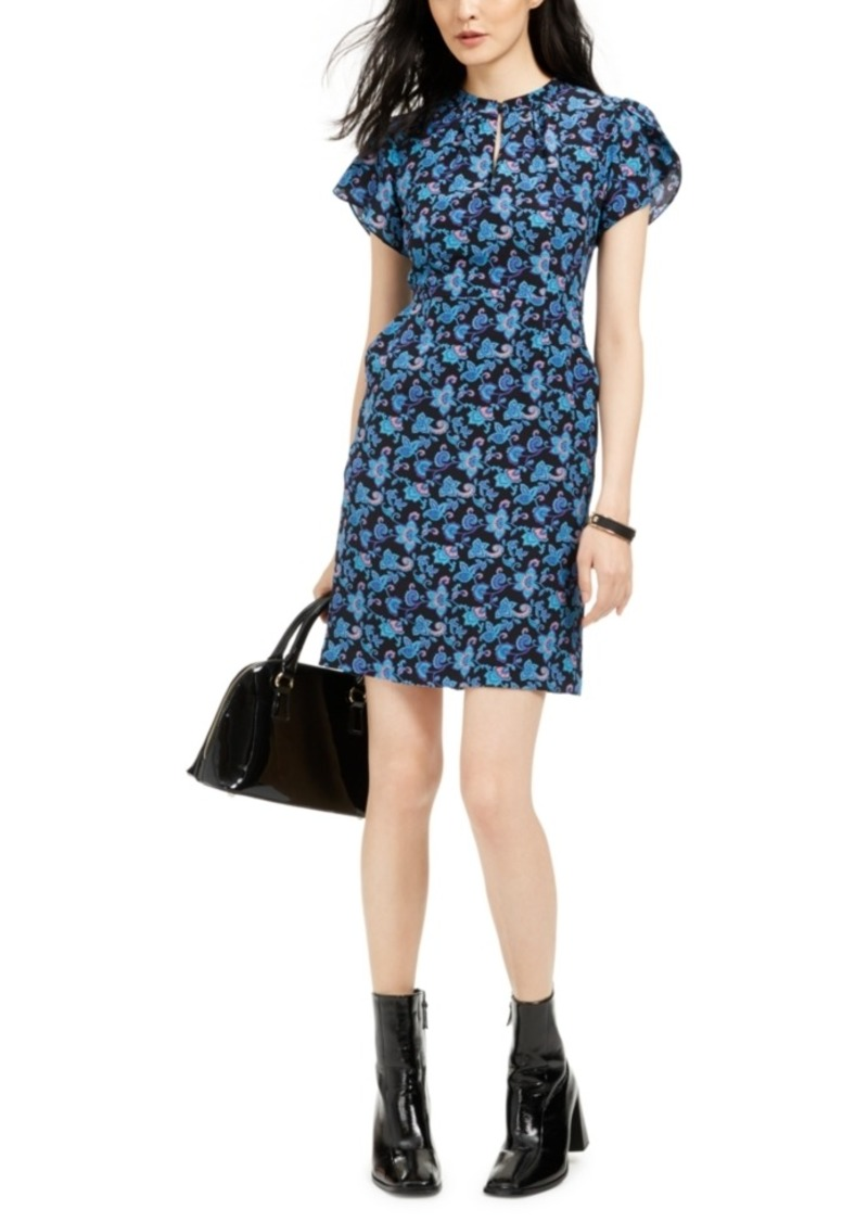 Nanette Lepore Printed Silk Keyhole Dress
