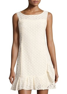 Nanette Lepore Ruffle-Hem Eyelet Shift Dress