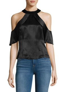 Nanette Lepore Ruffled Cold Shoulder Blouse