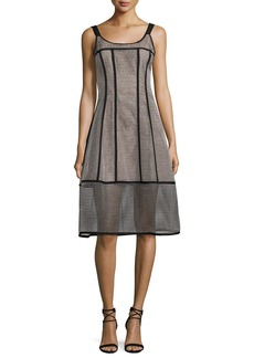 Nanette Lepore Sail Away Sleeveless Structured Mesh Stripe Dress