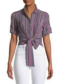 Nanette Lepore Sassy Stripe Self-Tie Silk Top