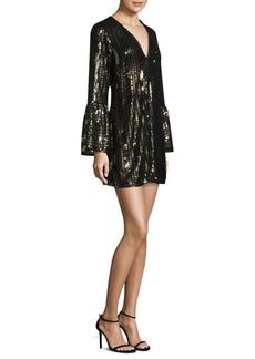 Sequin Bell-Sleeve Mini Dress