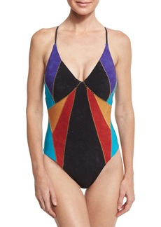 Nanette Lepore Serengeti Goddess Sueded One-Piece Swimsuit