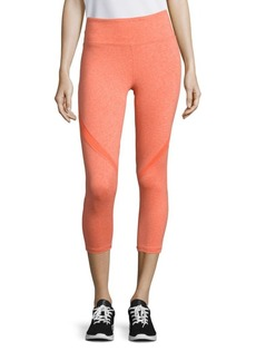 Nanette Lepore Serve Heathered Mesh-Inset Cropped Leggings