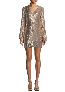 Nanette Lepore Sestina Sequin Long-Sleeve Mini Dress