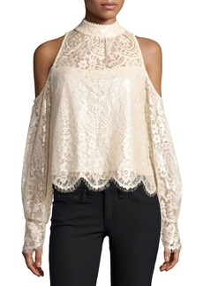 Nanette Lepore Shimmer-Lace Cold-Shoulder Blouse