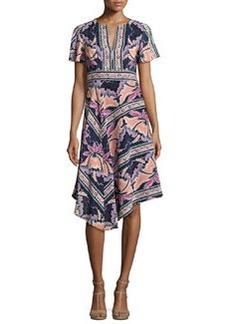 Nanette Lepore Short-Sleeve Asymmetric Printed Silk Dress